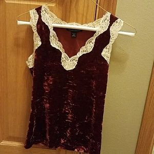 Red velvet and lace cami top